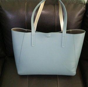 🆕 NWT large light blue & silver purse tote bag